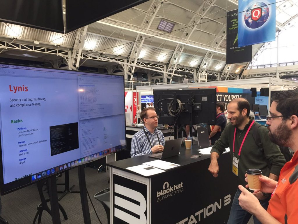 Michael Boelen showing a Lynis demo at the Arsenal of Black Hat conference